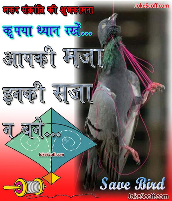 Makar Sankranti sms, Uttrayan save bird sms